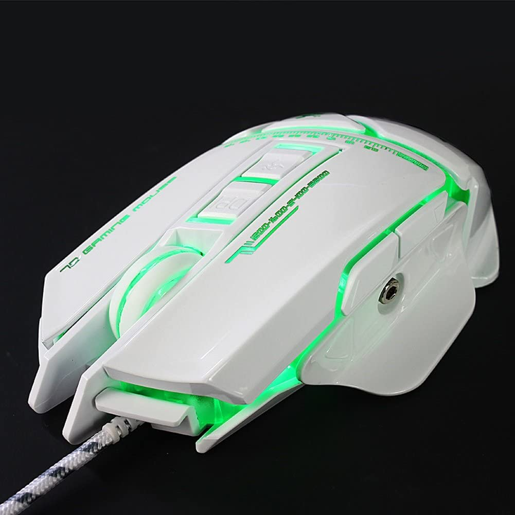 7 Programmable Buttons 2400 DPI Ergonomic Grips Adjustable Weight Computer Optical Mouse Black and White Trissem Gaming Mouse Breathing Backlit Color : White
