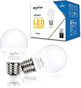Jslinter A15 LED Refrigerator Light Bulbs 5 Watt (40W Equivalent), Waterproof E26 Base 5000K Daylight Appliance Bulb for Fridge, Freezer, Ceiling Fan, Bathroom Lighting, Non-dimmable Cool White 2-Pack