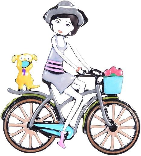 Color Gris Linda Chica De Metal Montando Una Bicicleta Pin De Esmalte De Joyería De Moda para Mujer Broches De Pines De Navidad: Amazon.es: Deportes y aire libre