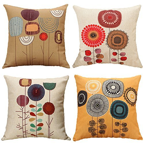 Cartoon Flowers Pattern Cushion Covers Decorative Throw Pillows For Sofa 18x18 inches Pack of 4