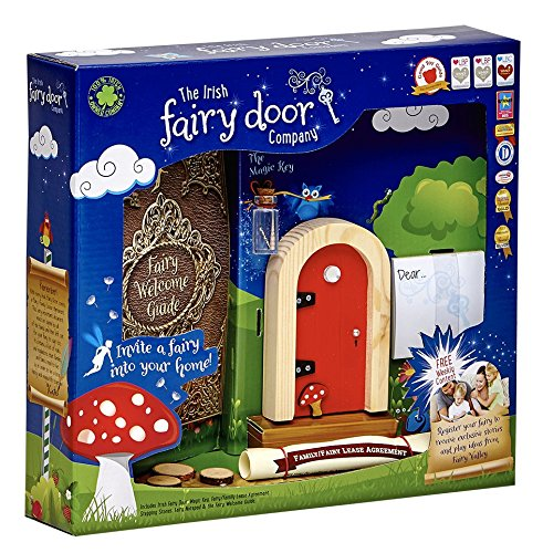 [The Irish Fairy Door Company - Red Round Door - Includes Magic Key in a Bottle, 3 Stepping Stones, Fairy Lease Agreement, Notepad, and Fairy Welcome] (Tooth Fairy Costumes)