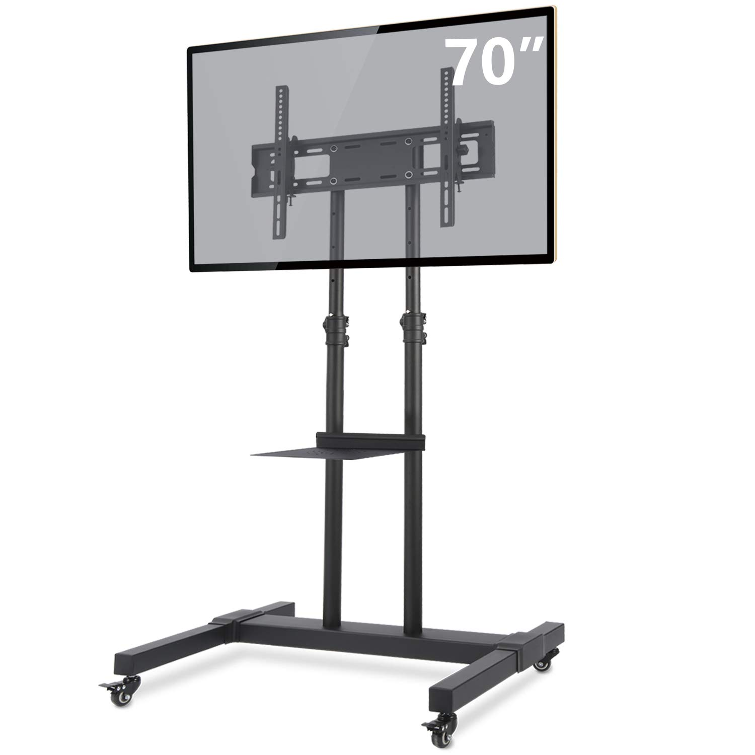 TAVR Mobile TV Stand Rolling TV Cart Floor Stand with Mount on Lockable Wheels Height Adjustable Shelf for 32-70 inch Flat Screen or Curved TVs Monitors Display Trolley Stand Loading 110lbs MT1001 by TAVR Furniture