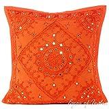 Eyes of India 16'' Orange Mirror Embroidered Decorative Sofa Cushion Pillow Throw Cover Boho Bohemian Indian