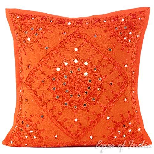 "Eyes of India 16"" Orange Mirror Embroidered Decorative Sofa"