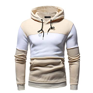 57edc3a33ea BHYDRY Fashion Mens  Autum Winter Long Sleeve Patchwork Fleece Hooded  Sweatshirt Round Neck Outwear Tops
