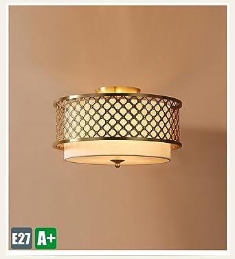 Modern Retro Deckenleuchte Kupfer Kreative Deckenlampe Weiss Stoff Runden Design  Dekoration Leuchtung Romantische Innenbeleuchtung Einfache Wohnzimmer
