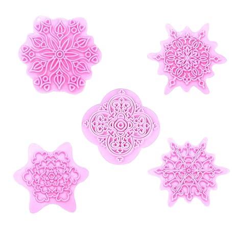 BESTONZON Conjunto de Cortadores de Galletas de Navidad en Forma de Copo de Nieve Moldes de