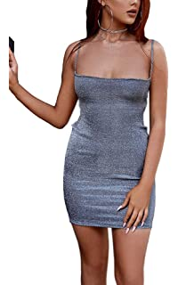 57f16277a41 Eliacher Women Adjustable Spaghetti Straps Bandage Clubwear Bodycon Dress  Sleeveless Shimmer Sexy Backless Party Dresses