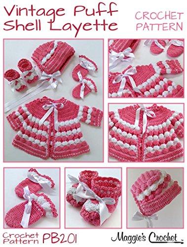 Crochet Pattern Vintage Puff Shell Layette PB201