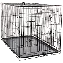 OxGord 122cm XXXL Dog Crate, Double-Doors Folding Metal w/ Divider & Tray 122 x 74 x 81cm (LxWxH) 2017 Newly Designed Model