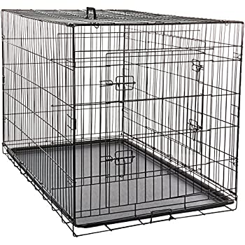 """Paws & Pals 48"""" Dog Crate Double-Door Folding Metal - Wire Cage with Divider for Training Pets - XXXL 48"""" x 29"""" x 32"""""""