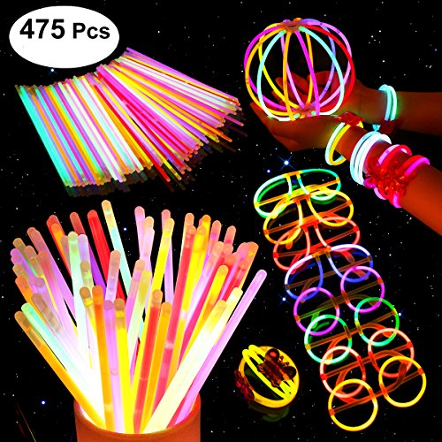 UNOMOR Glow Sticks for Party Supplies, 200 8'' Glow Sticks with Glow Necklaces for Glow in Dark Party favors with 275 Connectors and Instruction (7 Colors Total 475 PCs) (Tricks With Glow Sticks)