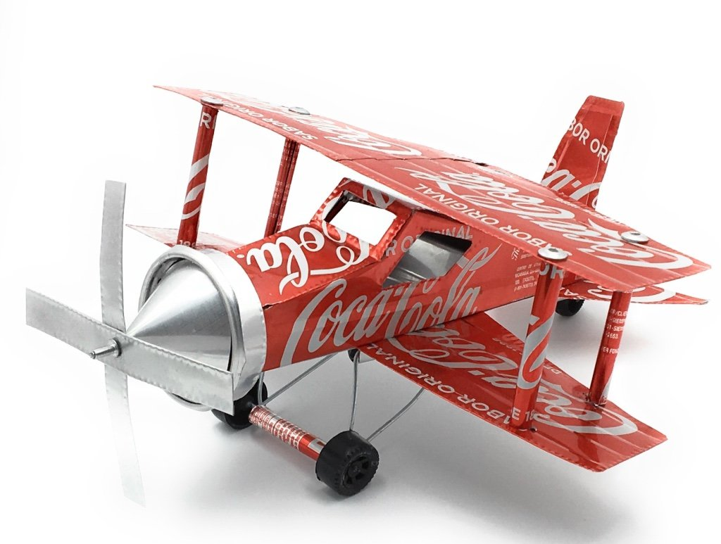 K&A Handmade WWII Airplanes - Built with Coca-Cola Aluminum Cans and Recycled Materials - 11 Inch long BIplane model