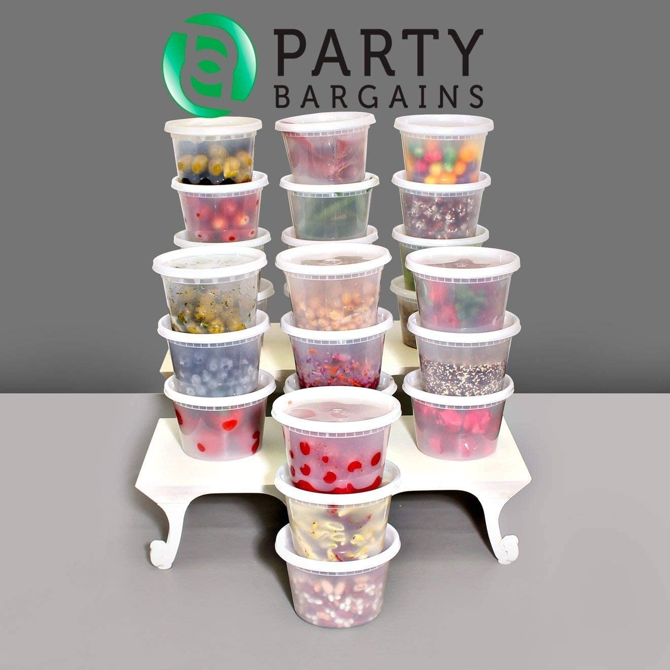 Party Bargains Storage Containers with Lids | Foodsavers Deli Containers, Microwave Temperature Resilient, Dishwasher Safe Stackable, Leak Proof & Reusable -16oz | Pack of 24