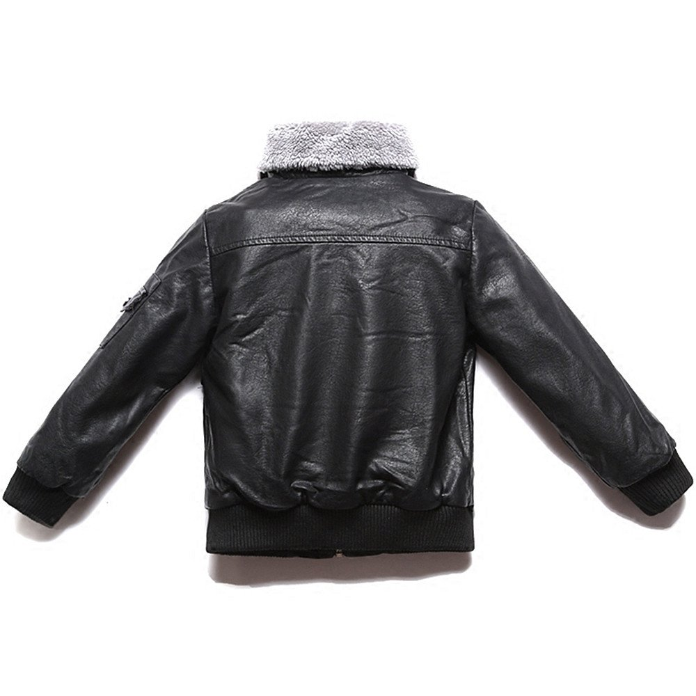 LJYH Boys Winter Motorcycle PU Leather Jacket with Faux Fur