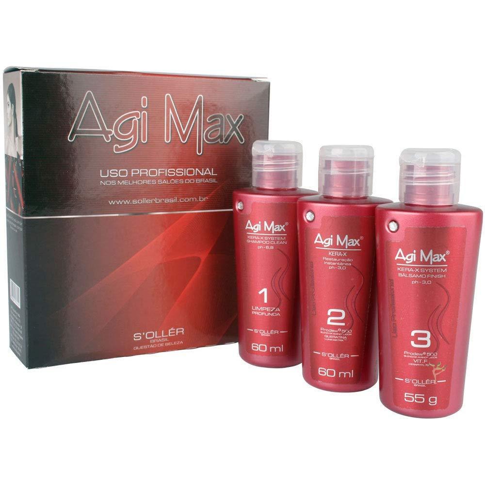 Amazon.com : KERATIN AGI MAX Straightening Brazilian Keratin Kit (3x) 60ml Each : Chemical Hair Dyes : Beauty