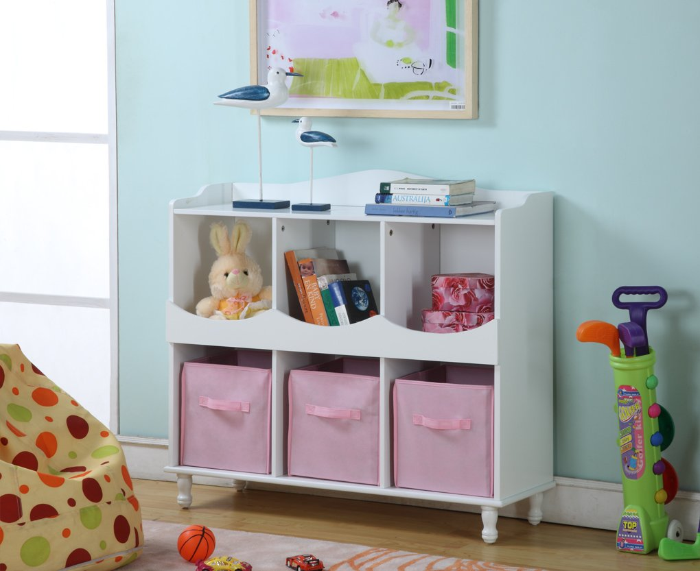 King's Brand R1014 Wood 6 Cubby Storage Cabinet with 3 Pink Fabric Bins, White Finish