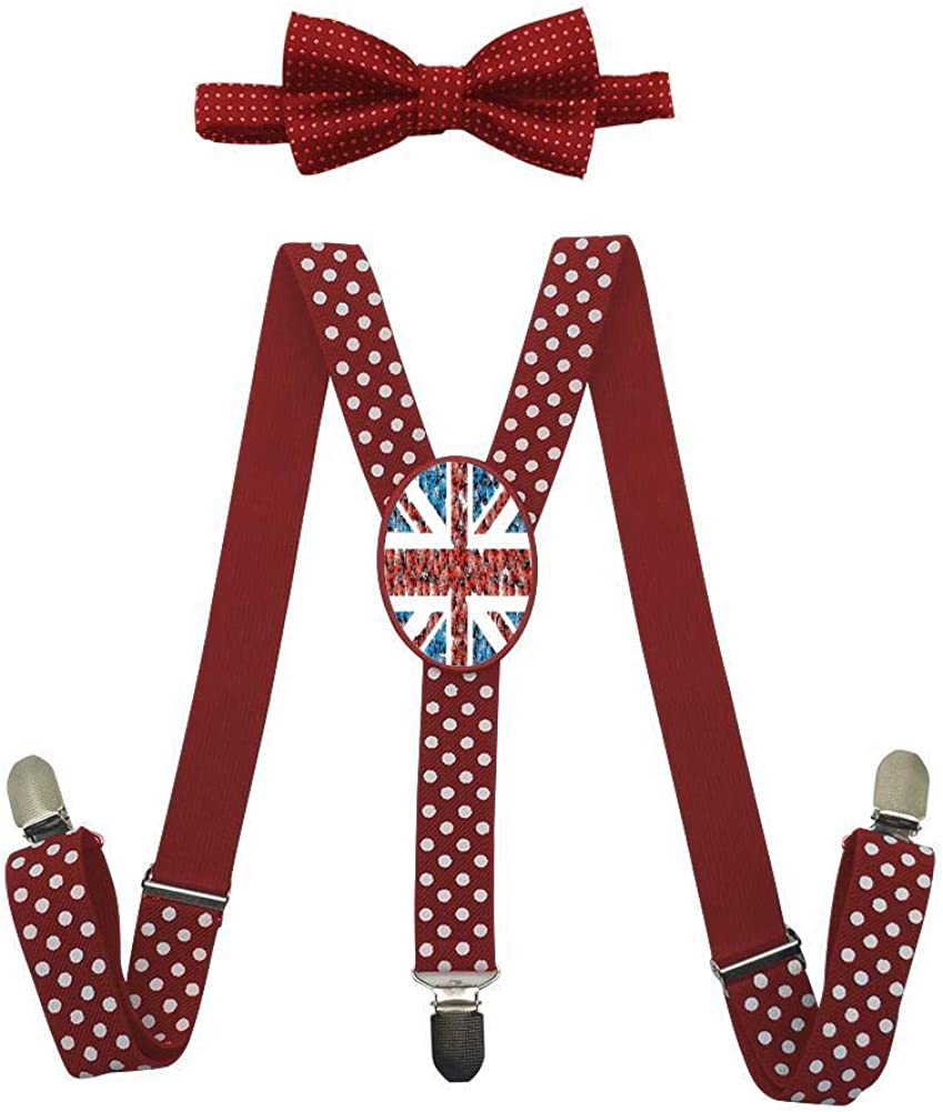 Insect Background of British Flag Childrens Suspension Belt Bow Suit Fashion Art Adjustable Y-Type Suspension Belt Suit.
