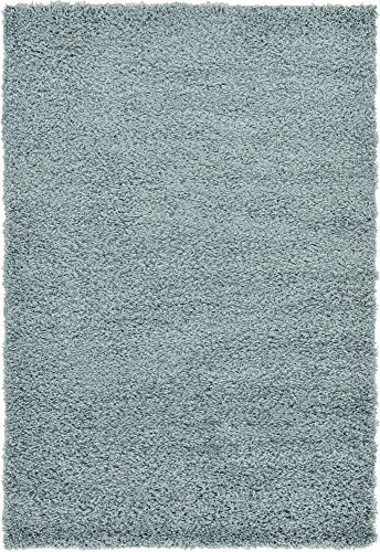 - Unique Loom Solo Solid Shag Collection Modern Plush Light Slate Blue Area Rug (4' 0 x 6' 0)
