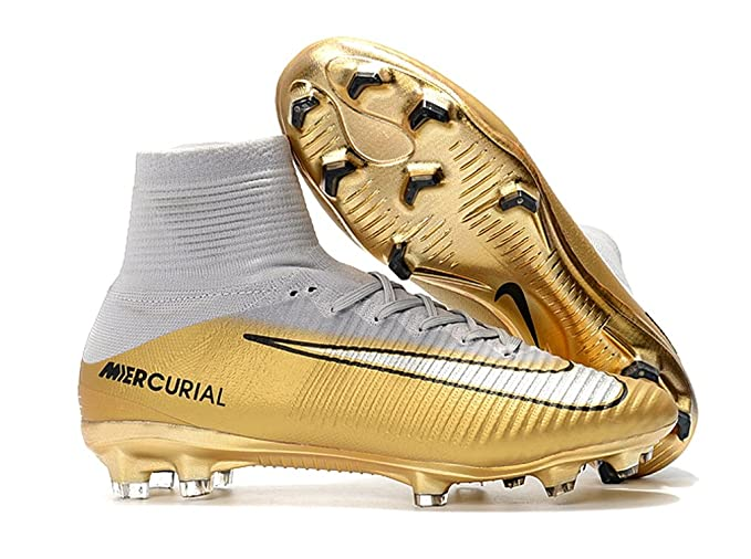d7336b9ec2aa Men s High Ankle Soccer Shoes Ronaldo Nike Mercurial Superfly V FG  White Gold (US