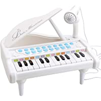 Amy&Benton Toy Piano for Baby & Toddler Piano Keyboard Toy for Girls Kids Birthday Gift Toys for 1 2 3 Year Old-- Multi-Functional, with Microphone, Portable, Mini, 24 Keys, White