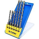 S&R Betonbohrer 4xSchneider, Hammerbohrer-Set 6 teilig für SDS plus Aufnahme, 6-tlg: 5,6,8 x 110mm; 6,8,10 x 160mm . Meister Line Bohrer für Eisenbeton, Beton, Granit, Stein.