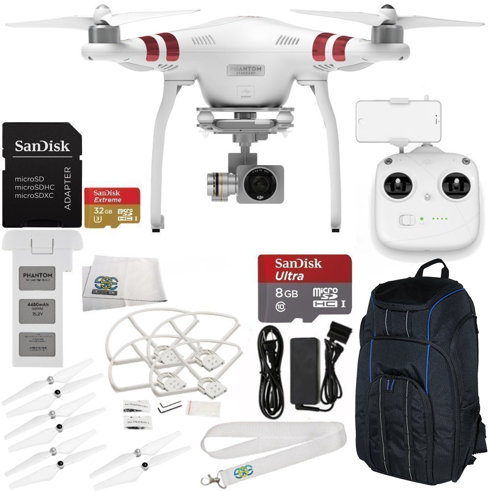 SSE DJI Phantom 3 Standard Quadcopter with SanDisk Extreme 32GB microSDHC Memory Card, 3-Piece Filter Kit and Accessories, Starter by SSE
