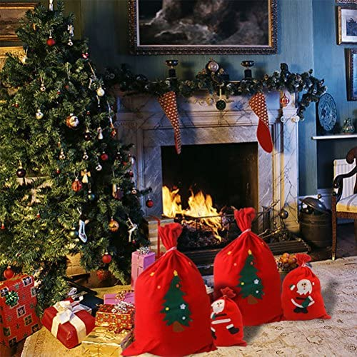 Random Pattern OUNONA Pap/á Noel Navidad Saco Gran Presente Navidad Cord/ón Regalo Bolsas 40/x 60/cm