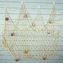 Bilipala Rustic Decorative Fishing Net Wall Decor with Seashells, Nautical Style Wall Hangings Ornaments, Creamy White