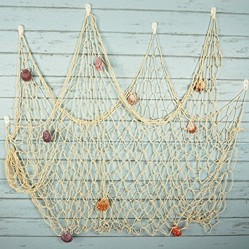 Bilipala rustic decorative fishing net wall decor with for Fishing net decor
