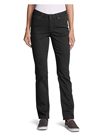 f74c5e3eb60 Eddie Bauer Women's StayShape Straight Leg Black Jeans - Curvy at Amazon Women's  Jeans store
