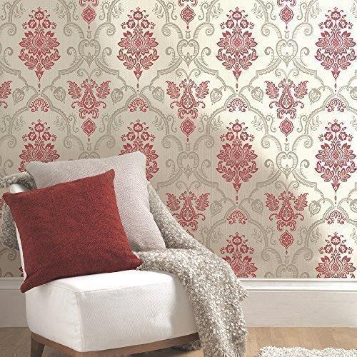 Holden sandringham floral damask pattern glitter vinyl textured wallpaper red cream 75732 amazon com