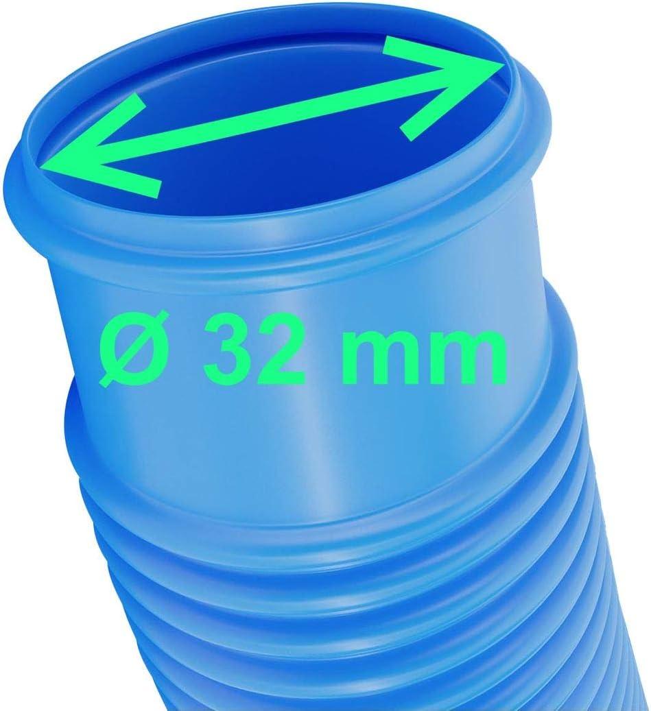 manguera de agua de 32 mm de di/ámetro resistente a los rayos UV y al cloro longitud total 6,3 m Zhitong Manguera de piscina con espiral