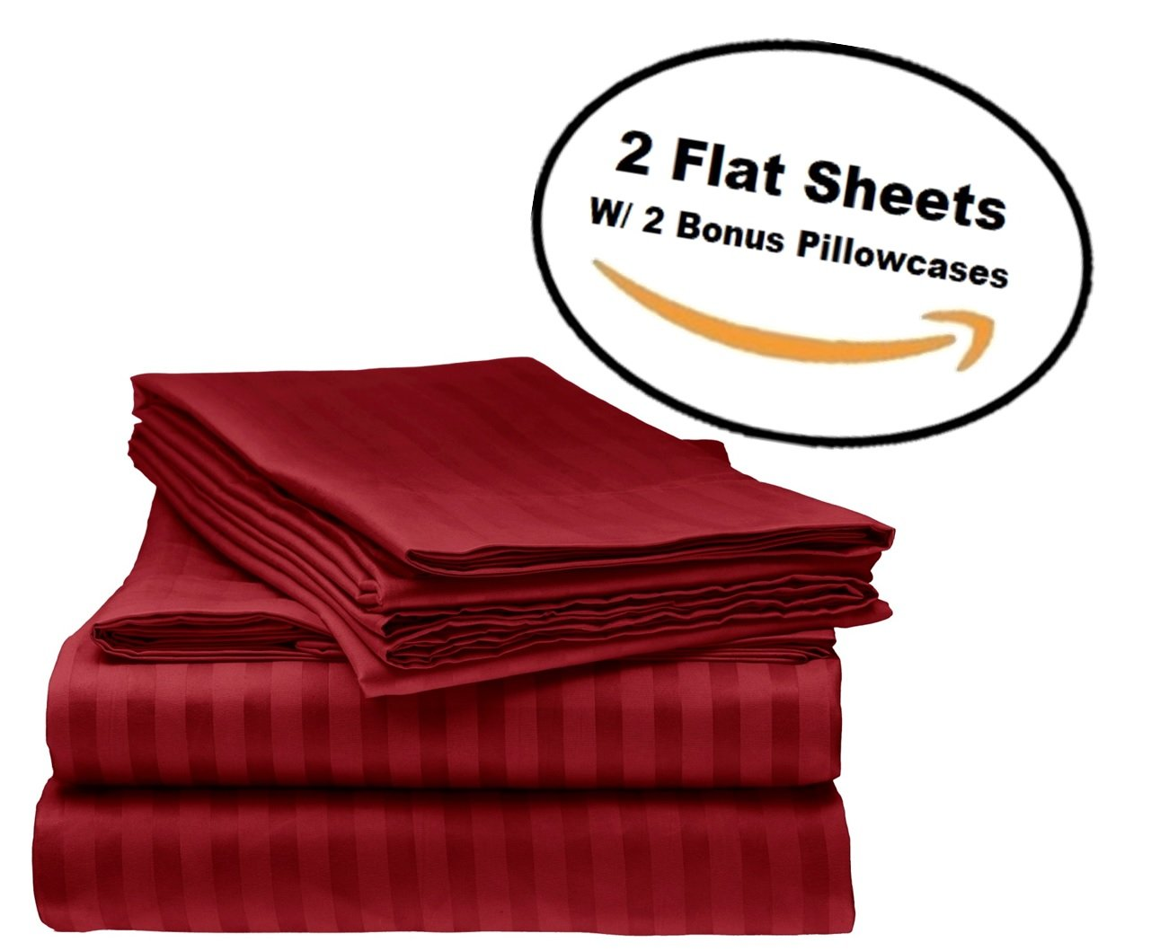 Deluxe 2Pk Flat Bed Sheets - Top Sheet, Soft 1800 Bedding, Highest Quality Brushed Microfiber, Hypoallergenic, Wrinkle, Fade, Stain Resistant - Bonus 2 Free pillowcases - (Queen Size Burgundy)