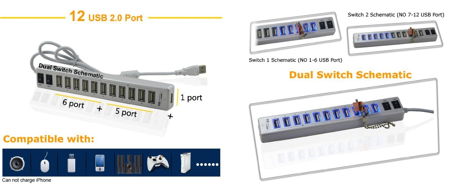 Generic 12 Port Usb Hub With 2 Control Switches Black Amazonco Splitter Schematic Electronics