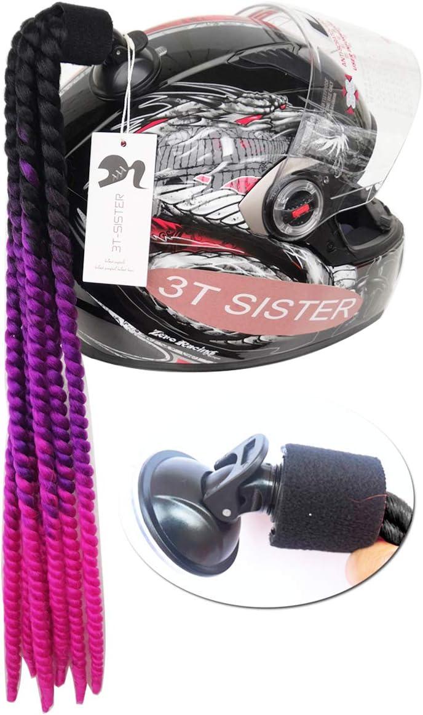 3T-SISTER - Cola de Caballo con Ventosa para Casco de Motocicleta, Trenzas rizadas, Pelo sint¨¦tico de Fibra, Color Degradado, 55,88 cm