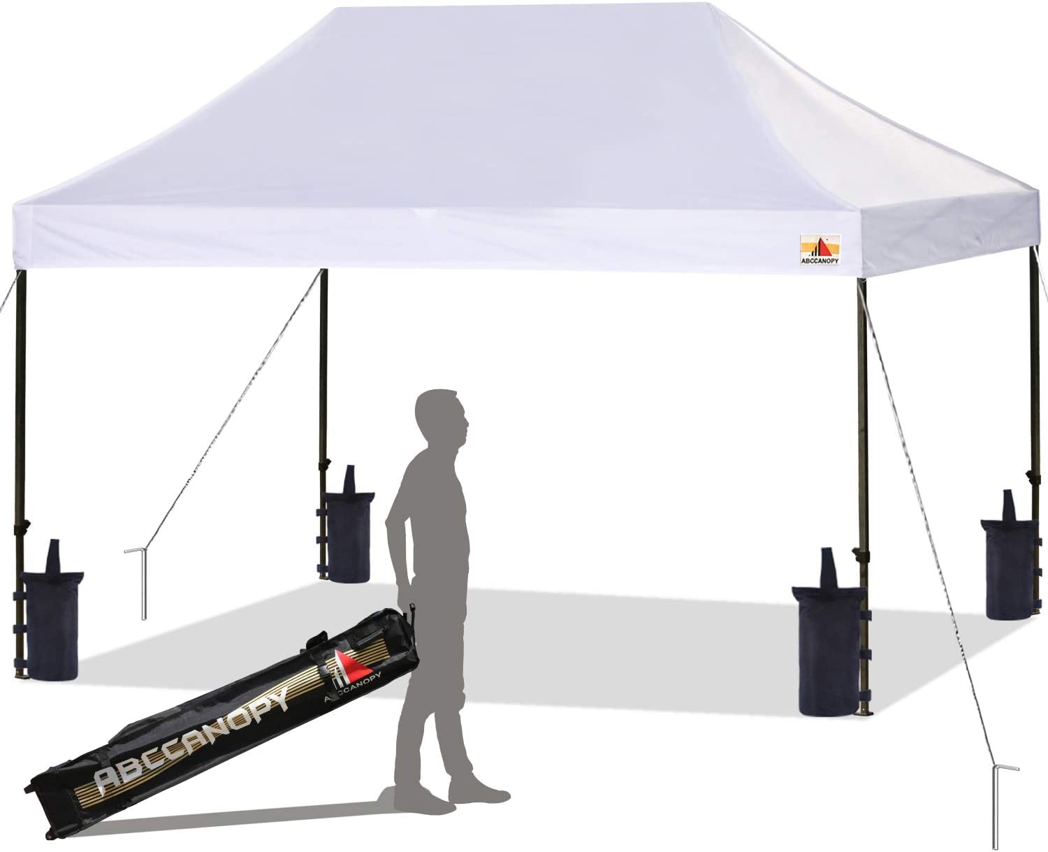 ABCCANOPY Pop up Canopy Tent Commercial Instant Shelter with Wheeled Carry Bag, Bonus 4 Canopy Sand Bags, 10x15 FT (White) 61OGLjVlo2L