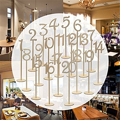 Giga Gud 20pcs (1-20) Wooden Table Numbers on Sticks for for Party Home Decoration Vintage Birthday Event Banquet Anniversary Decor Natural Wooden Catering Reception Table Decoration by Giga Gud