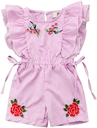 Toddler Girls Rompers and Jumpsuits Floral Overalls Outfits for Toddler Girls