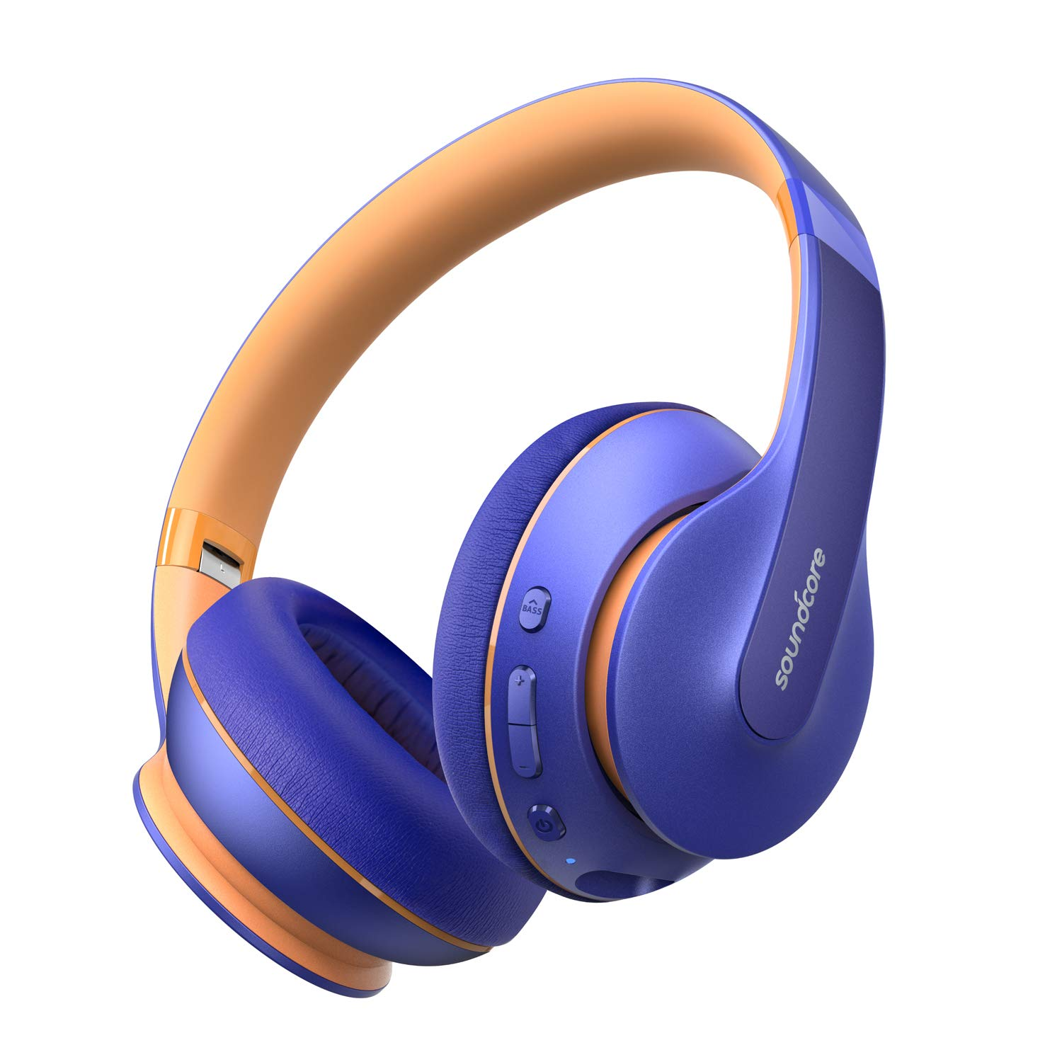 Anker Soundcore Life Q10 Wireless Bluetooth Headphones, Over Ear and Foldable, Hi-Res Certified Sound, 60-Hour Playtime and Fast USB-C Charging, Deep Bass, Aux Input (Blue)