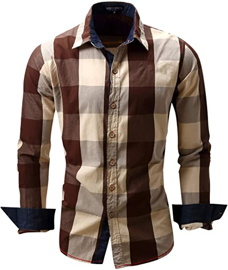 Shenhai Camisa Camisa de los Hombres Camisa de Manga Larga a Cuadros de algodón de Manga Larga a Cuadros, marrón, L: Amazon.es: Hogar