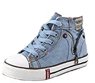 360e07a5dee5 Kids Girls Boys Denim Hi Top Canvas Pumps Trainers Sneakers Casual Fashion  Size (EU 30