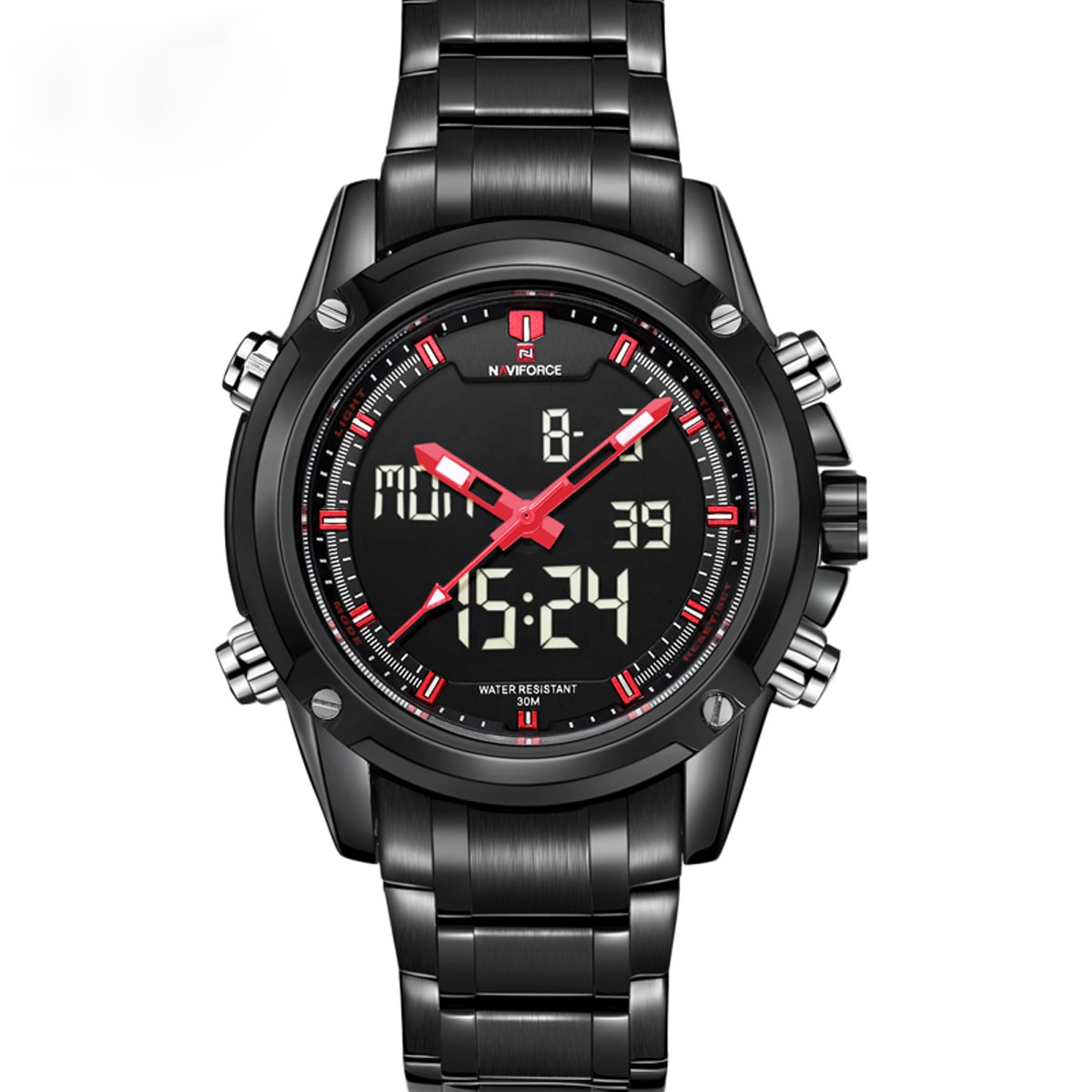 ea690ad93 Amazon.com: luxury NAVIFORCE Men's Analog Digital Waterproof Casual Army  Military Sports Watch (black red): Watches