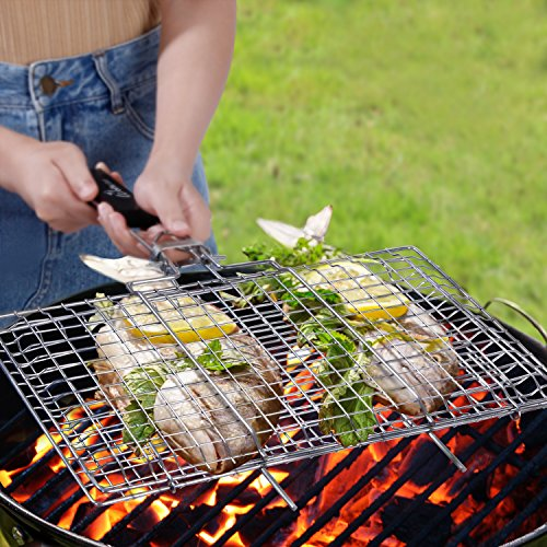 WolfWise Portable BBQ Grilling Basket 430 Stainless Steel Removable Wooden Handle (Grilling Barbecue)