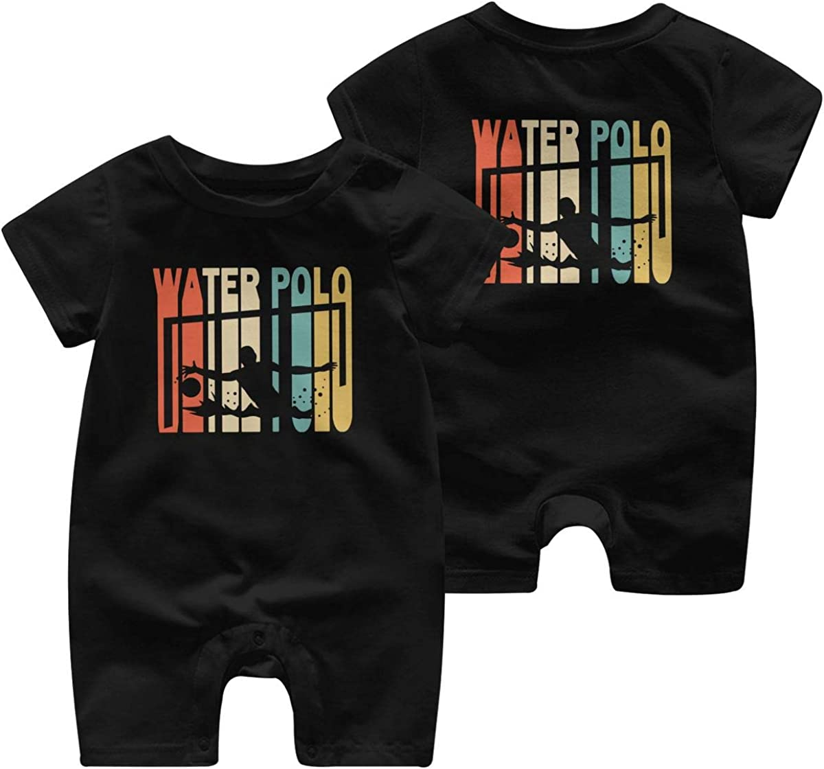 Retro Style Water Polo Silhouette-1 Toddler Baby Girl Short Sleeve Jumpsuit One Piece Toddler Jumpsuit