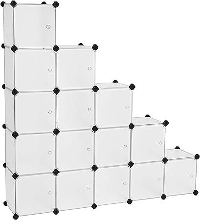 Mobile Con Ante Fai Da Te.Songmics Scaffale Portaoggetti Modulare Fai Da Te Con 16 Cubi