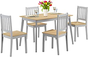 Giantex 5 Piece Dining Table Set with 4 Chairs, Wood Kitchen Table Set, Home Furniture for Kitchen and Dining Room (Natural & Light Gray)
