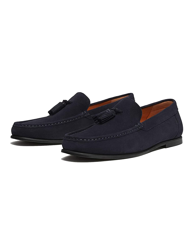 MASSIMO DUTTI - Mocasines de Cuero para Hombre Azul Azul, Color Azul, Talla 41 EU: Amazon.es: Zapatos y complementos