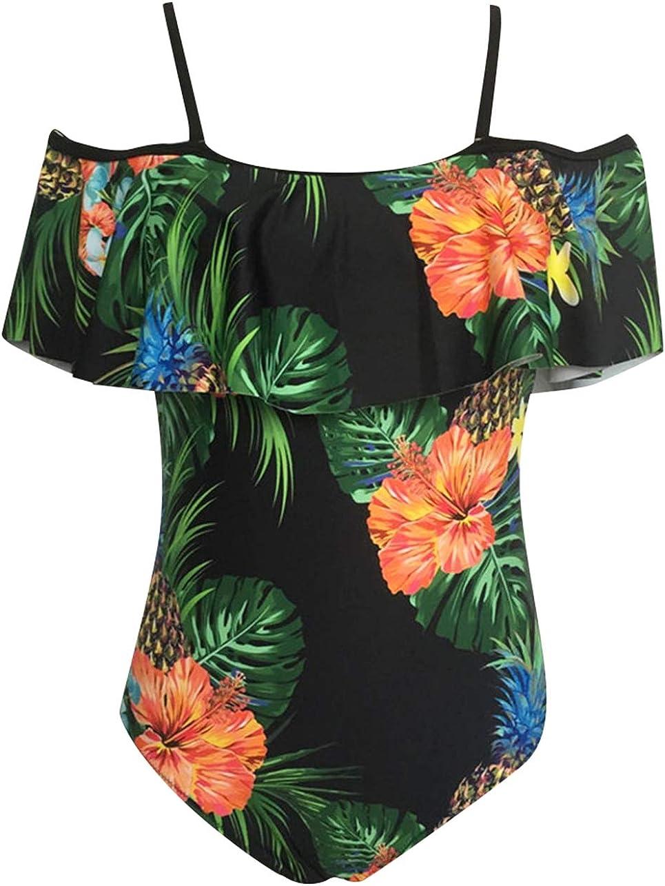 heekpek Ba/ñador Estampado de Flores Tropical con Volantes Relleno para Mujer