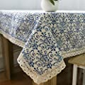 Ustide Vintage Navy Damask Pattern Decorative Macrame Lace Tablecloth Heavy Weight Cotton Linen Fabric Decorative Table Top Cover (55 Inch x 55 Inch)